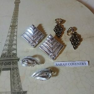 SARAH COVENTRY VINTAGE CLIP EARRINGS - 3 PAIRS